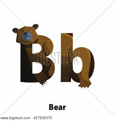 Cute Animals For Children To Learning Alphabet B Cartoon Character Bear Or Grizzly Bear Isolated On