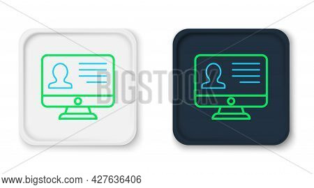 Line Computer Monitor With Resume Icon Isolated On White Background. Cv Application. Searching Profe