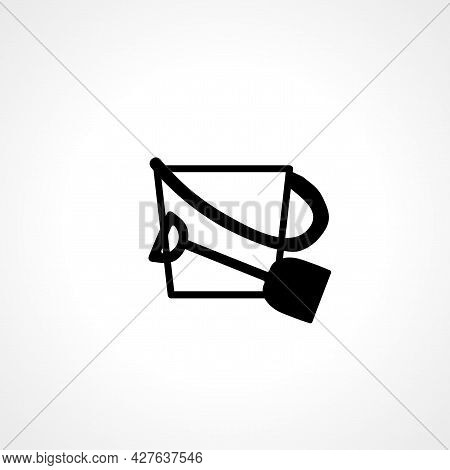 Sand Bucket With Shovel Icon. Sand Bucket With Shovel Simple Vector Icon. Sand Bucket With Shovel Is
