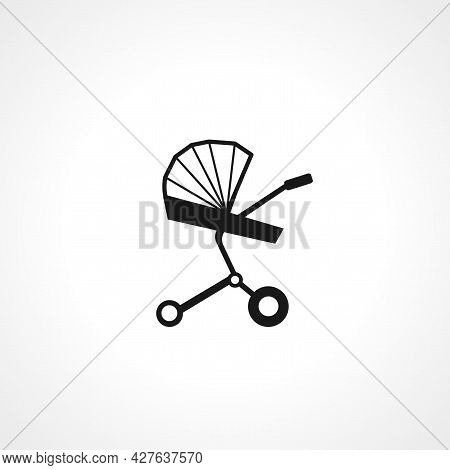 Baby Carriage Icon. Baby Stroller Simple Vector Icon. Carriage Isolated Icon.