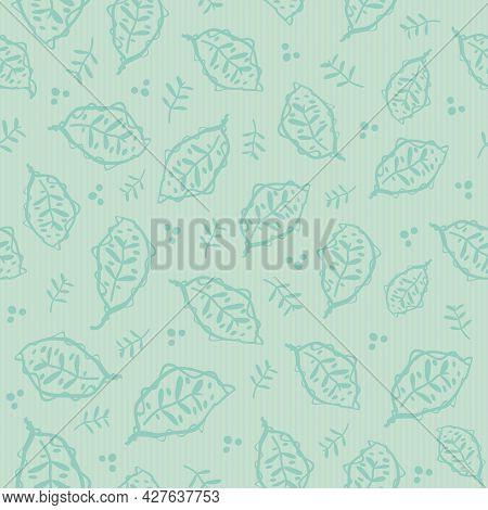 Scandi Leaf Vector Hand Drawn Modern Seamless Pattern Background. Pastel Monochrome Teal Aqua Blue P