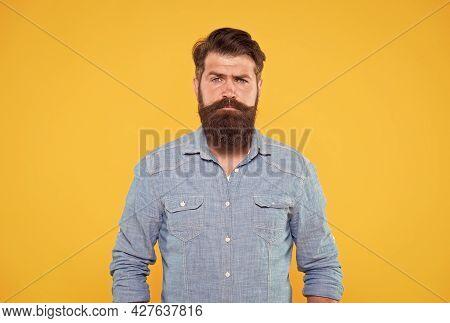 Long Beard. Statement Denim Jacket. Casual Style. Denim Look. Brutal Hipster With Mustache. Barbersh