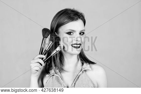 Makeup In Modern Fashion Style. Skincare Cosmetics. Fashion Makeup Visage. Sensual Woman With Long H