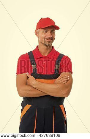 Easy And Quick. Handyman Service. Man Helpful Laborer. Repair And Renovation. Guy Worker Uniform. Bu