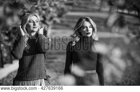 Autumn Park. Pleated Trend. Girls In Corrugated Skirt And Sweater. Female Beauty. Real Femininity. A