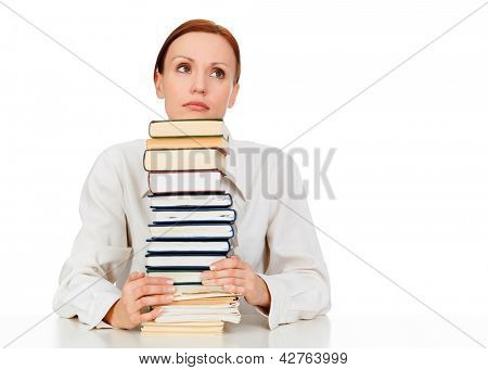 Woman with books against white background