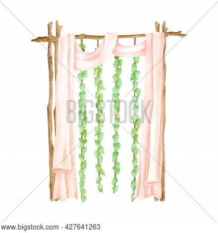 Watercolor Wood Wedding Arch With Hanging Ivy Leaves Garlands And Pastel Curtains. Hand Drawn Wood A