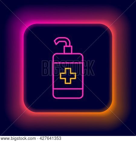 Glowing Neon Line Hand Sanitizer Bottle Icon Isolated On Black Background. Disinfection Concept. Was