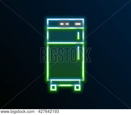 Glowing Neon Line Refrigerator Icon Isolated On Black Background. Fridge Freezer Refrigerator. House