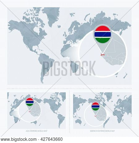 Magnified Gambia Over Map Of The World, 3 Versions Of The World Map With Flag And Map Of Gambia. Vec