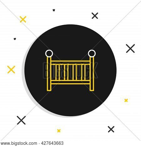 Line Baby Crib Cradle Bed Icon Isolated On White Background. Colorful Outline Concept. Vector