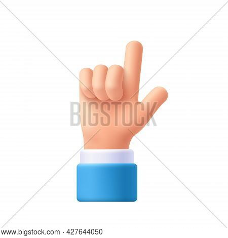 Cartoon Character Hand Pointing Gesture. Show One Finger, Index Finger. Indicating, Showing Somethin