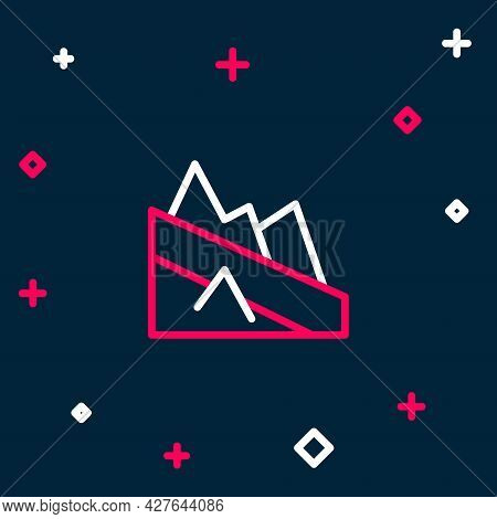 Line Mountain Descent Icon Isolated On Blue Background. Symbol Of Victory Or Success Concept. Colorf