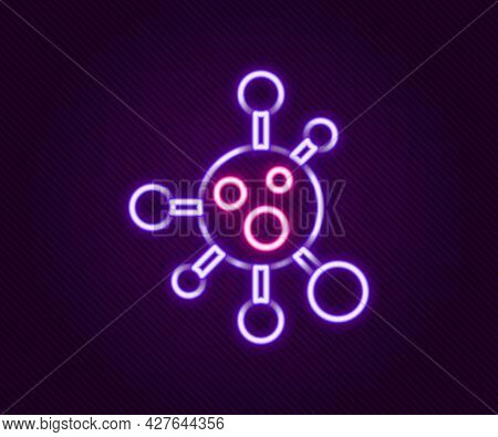 Glowing Neon Line Molecule Icon Isolated On Black Background. Structure Of Molecules In Chemistry, S