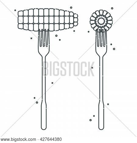 Corn On A Fork On White Background. Two Views To Object. Flat Style Illustration For Any Design. Hea