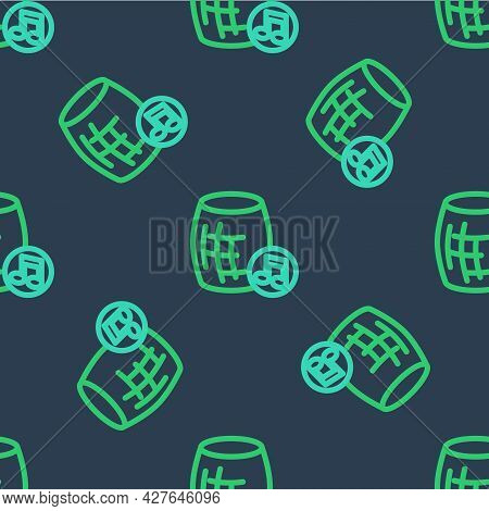 Line Voice Assistant Icon Isolated Seamless Pattern On Blue Background. Voice Control User Interface