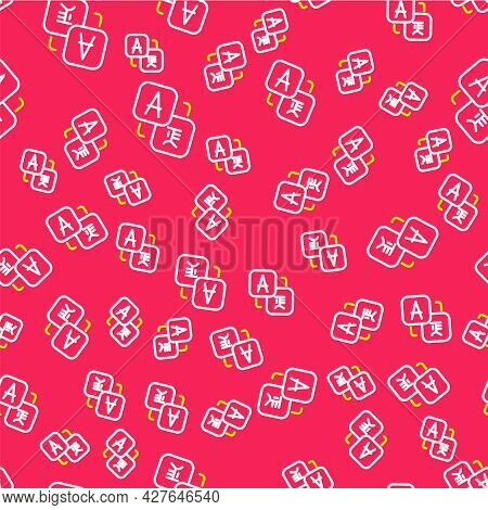 Line Translator Icon Isolated Seamless Pattern On Red Background. Foreign Language Conversation Icon