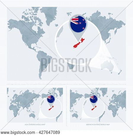 Magnified New Zealand Over Map Of The World, 3 Versions Of The World Map With Flag And Map Of New Ze
