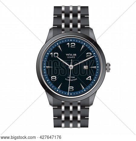 Realistic Dark Steel Watch Clock Blue Face Design For Men Fashion On White Background Vector Illustr