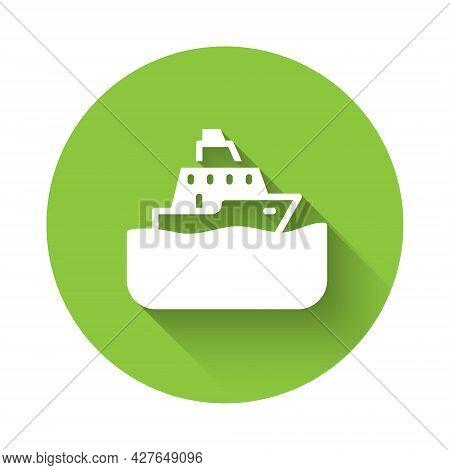 White Cruise Ship Icon Isolated With Long Shadow. Travel Tourism Nautical Transport. Voyage Passenge
