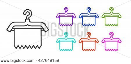 Black Line Hanger Wardrobe Icon Isolated On White Background. Clean Towel Sign. Cloakroom Icon. Clot