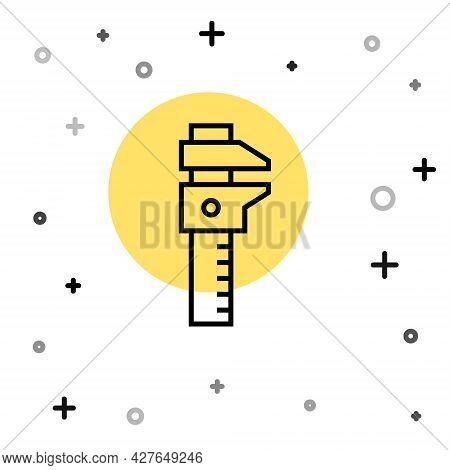 Black Line Calliper Or Caliper And Scale Icon Isolated On White Background. Precision Measuring Tool