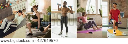 Young Sportive Men And Women Training At Home, Indoors. Sport, Training, Athlete, Workout, Exercises