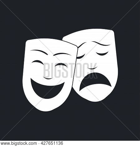 Comedy And Tragedy White Theater Masks. Happy And Sad Mask. Drama And Comedy Symbol. Vector Illustra