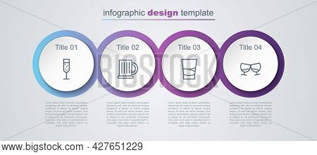 Set Line Glass Of Champagne, Wooden Beer Mug, Vodka And Cognac Or Brandy. Business Infographic Templ