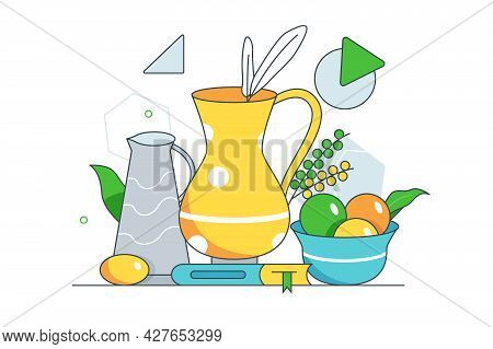 Composition Of Fruits Vase And Book. Vector Still Life For Practicing Painting Line Art Style. Still