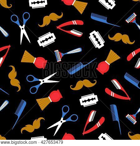 Beard Or Mustache Grooming Kit Seamless Pattern On Dark Background, Tools For Barbershop Different R