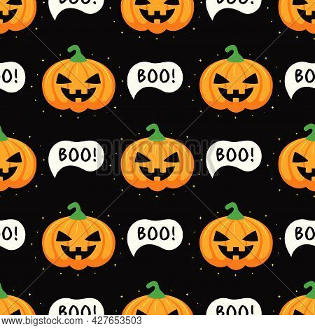 Seamless Pattern With Funny Scary Pumpkins And Text Boo On Black Background, Vector Illustration For