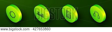 Set Isometric Line Dial Knob Level, Home Stereo, Stereo Speaker And Headphones Icon. Vector