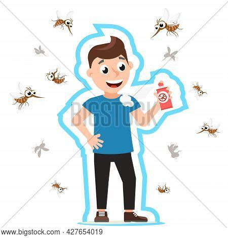 Man Spraying Mosquito Spray, Mosquitoes Fly And Fall On White Background