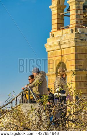 Tourists At Lycabettus Hill Viewpoint, Athens