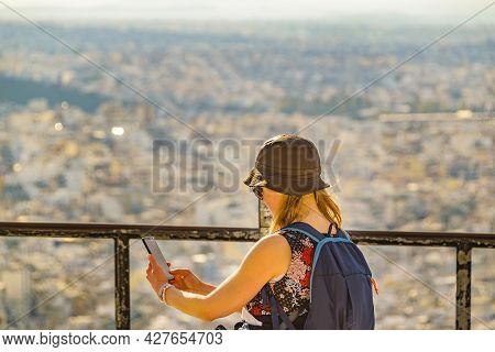 Woman Taking Selife, Lycabettus Hill, Athens