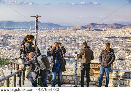 Tourists Taking Photos, Lycabettus Hill, Athens