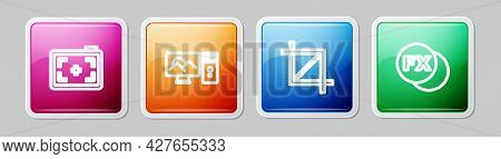 Set Line Photo Camera, Retouching, Picture Crop Photo And Fx. Colorful Square Button. Vector