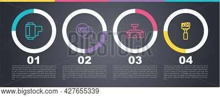 Set Line Camera Roll Cartridge, Photo Camera Fx, Softbox Light And Action. Business Infographic Temp