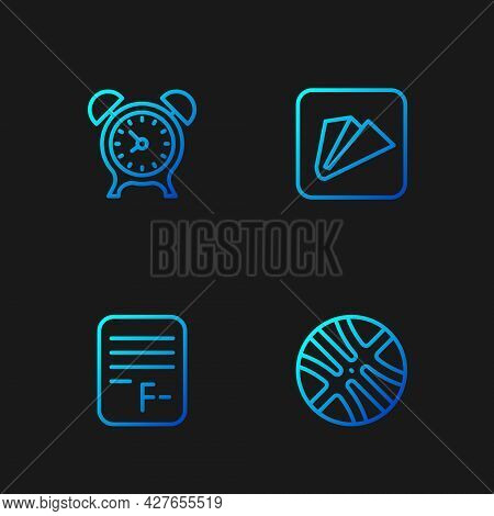 Set Line Basketball Ball, Exam Paper With Incorrect Answers, Alarm Clock And Paper Airplane. Gradien