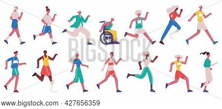 Jogging Characters. Running Female And Male People, Sprinting, Jogging And Jumping Men And Women Iso