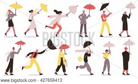 Characters Walking Under Umbrella. People With Umbrella In Autumn Rainy Day, Fall Wet Weather Vector