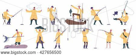 Fishing People. Outdoor Fishing Sport, Hobby Recreation, Boat Or Shore Fishing Fisherman Characters