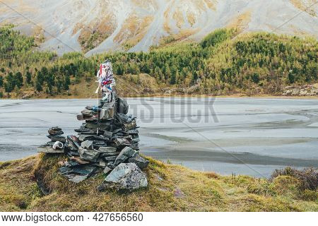Scenic Alpine Landscape With Stony Tour With Multicolor Ribbons In Mountain Valley In Autumn Colors.