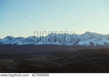 Awesome Landscape With Mountain Valley With Hills And Forest In Autumn Colors In Shadow With View To