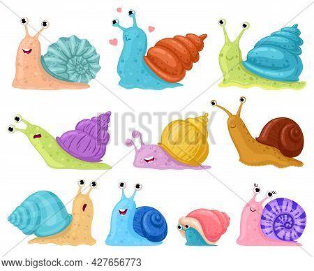 Cartoon Snail. Garden Snails Mascots, Cute Little Gastropods In Colourful Snail Shells Cartoon Vecto
