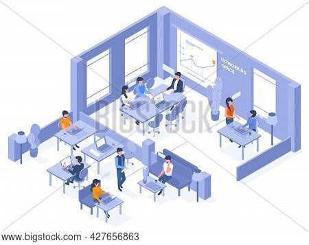 Coworking Isometric Office. Freelancer Coworkers In Open Office Space, 3d Business Coworking Space V