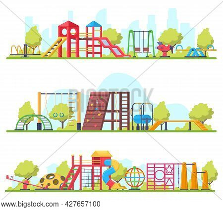 Kids Outdoor Fun Recreation Park Or Playground Banners. Swing, Slide And Sandbox Playground Equipmen