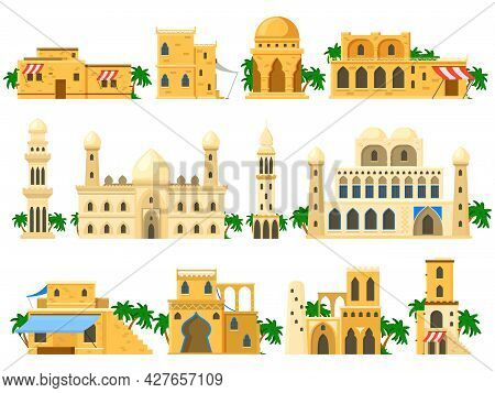Traditional Ancient Arabic Architecture Mud Brick Buildings. Towers, Houses, Rotunda And Castle Buil
