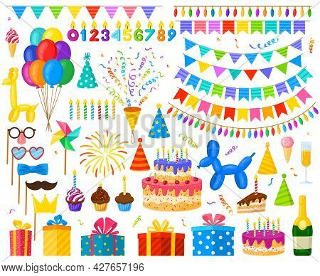 Cartoon Birthday Party Celebration Balloons, Cake And Gifts. Carnival Party Decorations, Candy And C